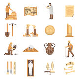 Archeology Icons Set Stock Photos