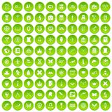 100 archeology icons set green circle. Isolated on white background vector illustration Stock Illustration