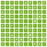 100 archeology icons set grunge green Stock Photo