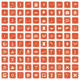 100 archeology icons set grunge orange. 100 archeology icons set in grunge style orange color isolated on white background vector illustration Royalty Free Stock Photo