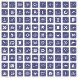 100 archeology icons set grunge sapphire Royalty Free Stock Photo