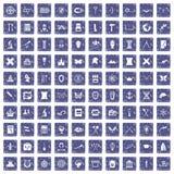 100 archeology icons set grunge sapphire. 100 archeology icons set in grunge style sapphire color isolated on white background vector illustration Royalty Free Stock Photo