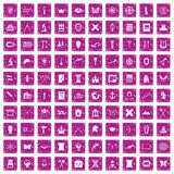 100 archeology icons set grunge pink. 100 archeology icons set in grunge style pink color isolated on white background vector illustration Stock Images
