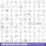 100 archeology icons set, outline style Stock Photography