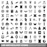 100 archeology icons set, simple style Stock Photos