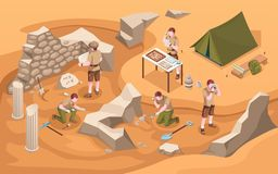 Free Archeology Isometric Sign Or Archeologist At Work Royalty Free Stock Photography - 162138947