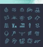 Archeology line icons set. Outline black icons set in thin modern design style, flat line stroke vector symbols - archeology collection Royalty Free Stock Image