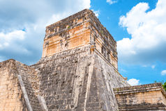 Archeology and nature of the Yukatan peninsula. Chichen Itza , Mexico - April 18, 2016: Archaeological site, the Observatory & x28;El Observatorio& x29 Stock Image