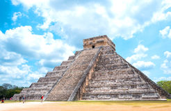 Archeology and nature of the Yukatan peninsula. Chichen Itza , Mexico - April 18, 2016: Archaeological site, view of the imposing Castle  El Castillio Stock Photos
