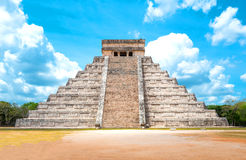 Archeology and nature of the Yukatan peninsula. Chichen Itza , Mexico - April 18, 2016: Archaeological site, view of the imposing Castle  El Castillio Stock Photography