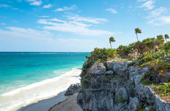 Archeology and nature of the Yukatan peninsula. Tulum, Mexico - April 20, 2016:  Sea view from the Mayan city archaeological site Stock Photo