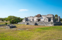 Archeology and nature of the Yukatan peninsula. Tulum, Mexico, houses in the Mayan city archaeological site Royalty Free Stock Photography