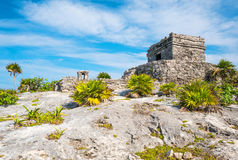 Archeology and nature of the Yukatan peninsula. Tulum, Mexico, the Wind Temple of the Mayan city archaeological site Royalty Free Stock Image