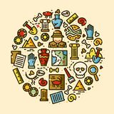 Archeology vector icons set. Archeology objects set, historical excavations line art vector illustration in round composition Stock Image