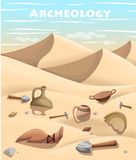 Archeology and paleontology concept archaeological excavation Web site page and mobile app design  element. ancient history. Achaeologists unearth ancient Stock Images