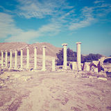 Archeology. Ruins of Ancient Bet Shean in Israel, Instagram Effect Stock Photos
