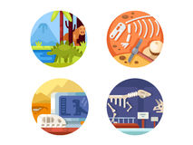Archeology set of icons. Search and study of remains ancient dinosaurs. Vector illustration. Pixel perfect icons size - 128 px Royalty Free Stock Image