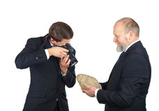 Archeology staff. Portrait of two men checking a snail fossil Royalty Free Stock Photos