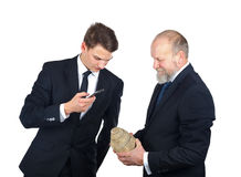Archeology staff. Portrait of two men checking a snail fossil Royalty Free Stock Images