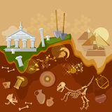 Archeology treasure hunters ancient artifacts. Archaeological excavations vector illustration Stock Image
