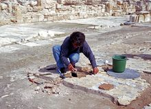 Archeoloog, Kourion Stock Fotografie