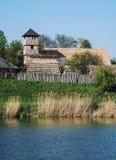Archeoskanzen Blue - Great Moravian fortified settlement near th Stock Photos