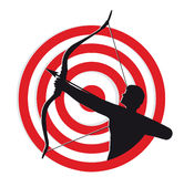 Archer. Silhouette against the background of the target Stock Photo