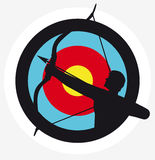 Archer. Target image with a silhouete of an archer superimposed on it Royalty Free Stock Photo