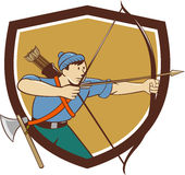 Archer Aiming Long Bow Arrow Cartoon Crest Royalty Free Stock Images
