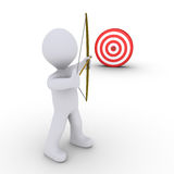 Archer aiming at a target. 3d person as an archer is aiming at a target Stock Photography