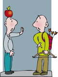 Archer with apple. Communicating men one with apple on head, other with bow and arrow vector illustration