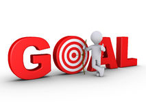 Archer with arrow at center of GOAL - target. 3d happy archer with arrow that is at center of red GOAL - target Stock Photography