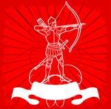 Archer blanco en rojo Imágenes de archivo libres de regalías