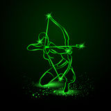 Archer with bow. Neon vector illustration. Royalty Free Stock Photos