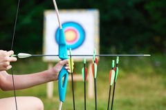 Archer with bow nock and arrows Stock Photos