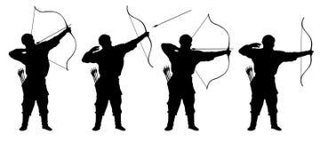 Archer, bowman silhouette set vector. Stock Photos