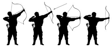 Archer, bowman sylwetki ustalony wektor Zdjęcia Stock