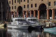 The Archer Class patrol boats HMS Ranger and HMS Smiter moored a. T the Albert Dock Liverpool for the Tall Ships Festival May 2018 Royalty Free Stock Photography
