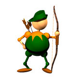 Archer clipart. Archer figurine clipart, computer generated 3D icon of man holding bow Stock Image