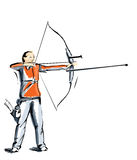 Archer during a competition of archery Stock Photos