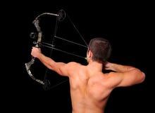 Archer con el arqueamiento y la flecha Imágenes de archivo libres de regalías