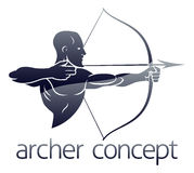 Archer Concept. Conceptual archery sports illustration of an archer shooting a bow and arrow Royalty Free Stock Photos