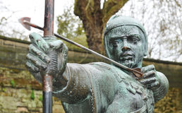 Robin Hood. Detail of medieval statue of archer Royalty Free Stock Images