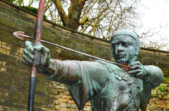 Robin Hood. Detail of medieval statue of archer Stock Photos