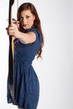Archer fêmea With Bow Drawn imagem de stock royalty free