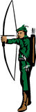 Archer. Fairy archer with bow - color illustration Stock Image