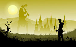 Archer and giant. Flat illustration vector of ancient archer looking for giant in mist kingdom Stock Image