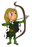 Archer girl cartoon Royalty Free Stock Images