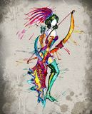 Archer horoskopu dziewczyny akwarela Obraz Stock