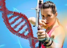 Archer kvinna med den röda och blåa dna-kedjan mot blå bakgrund och blåa och orange ljus Royaltyfri Foto
